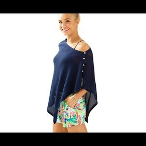 Lilly Pulitzer Harding Sweater Wrap Trie Navy NWT